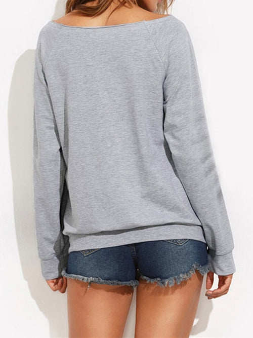 Weekend Letter Printed Low Round Collar Sweatshirt