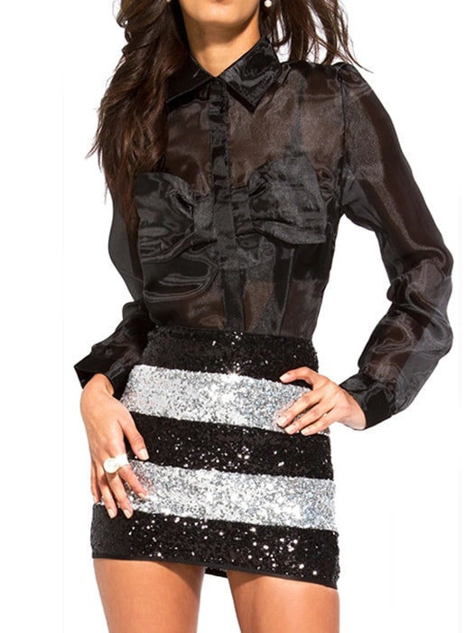Body-conscious Sequin Covered Blocked Mini Skirt