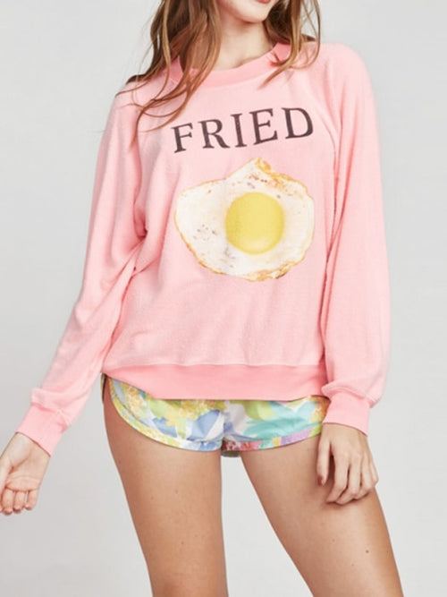 Fried Egg Print Stirrup Cuff Sweatshirt