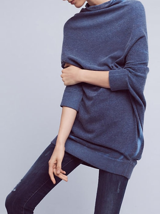 Turtle Neck Bat-wing Sleeve Oversize Sweater In Retro Blue