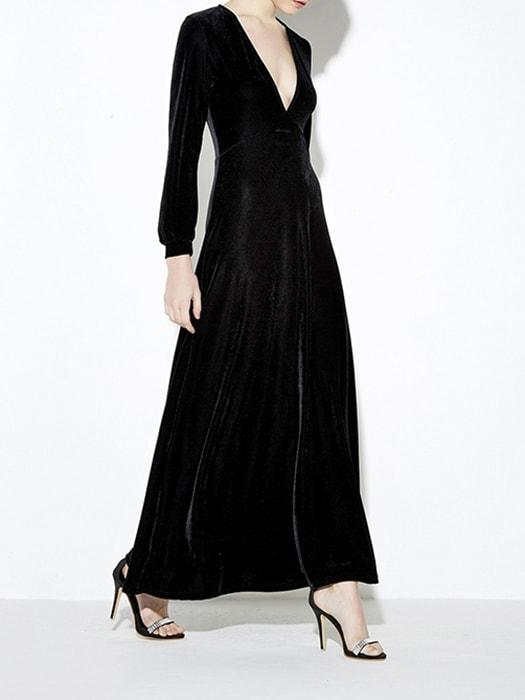 Deep V Neck Velvet Dress