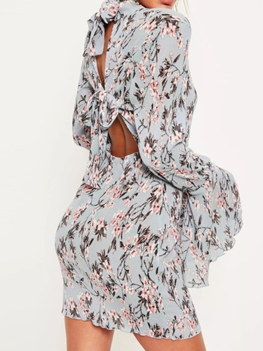 Floral Ruffle Sleeve Roll Neck Dress