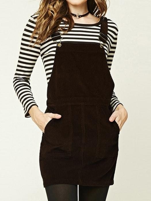 Corduroy Overall With Front Pockets