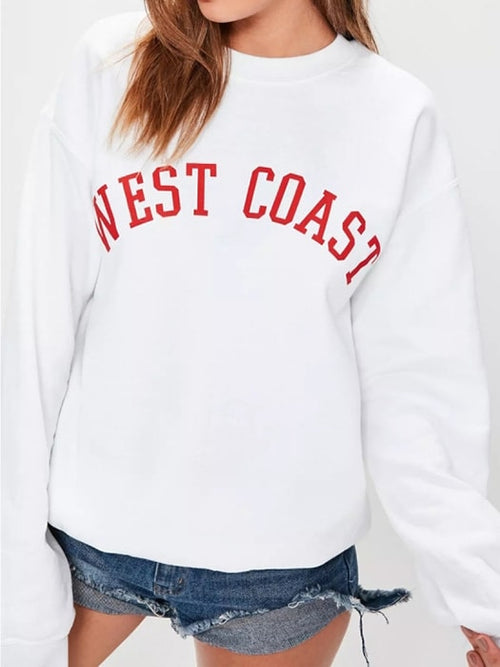 West Coast Letter Printed Sweatshirt
