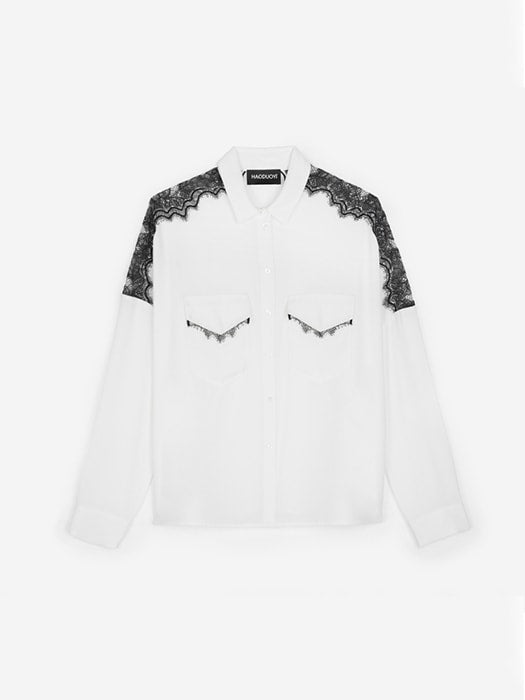 Sheer Relaxed Shirt With Shoulder Lace