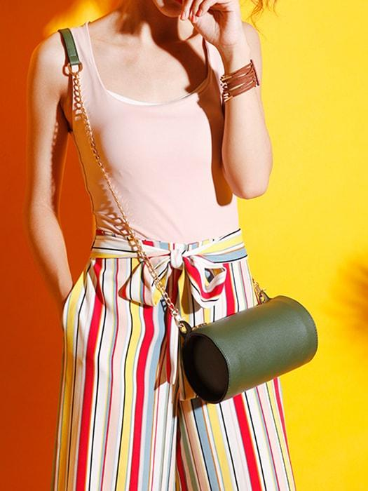 Column Shaped Vintage Chain Bag