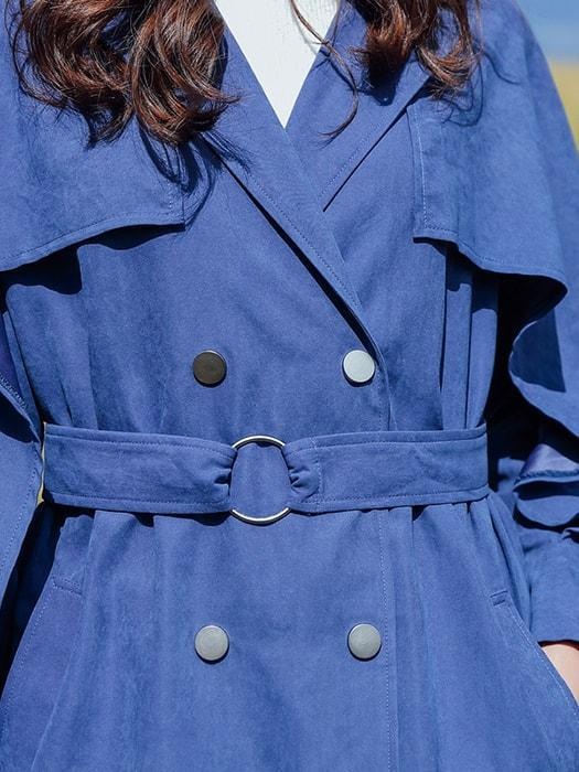 Blue Double-breasted Chester Trench Coat