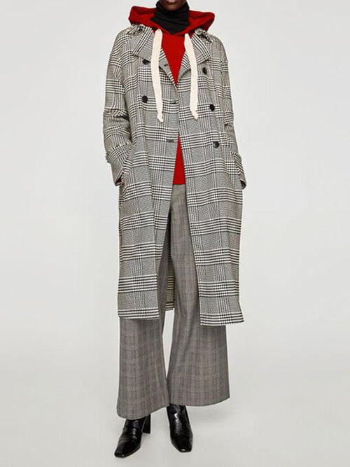 British Double-breasted Notched lapel Plaid Cardigan