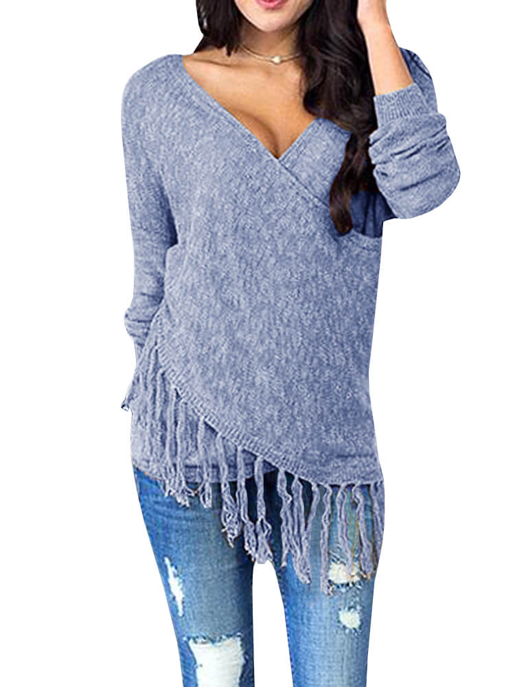 da95dcc1ba3 Surplice Knitwear With Fringes – WhatsMode
