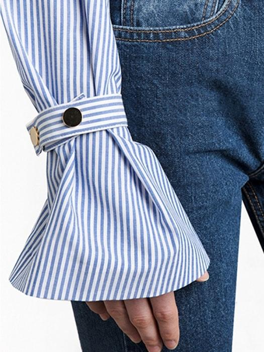 Horn Sleeve Cuff Button Stripe Top