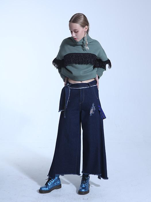 Fringed Wide Leg Jeans With Contrasted Denim Belt In Navy