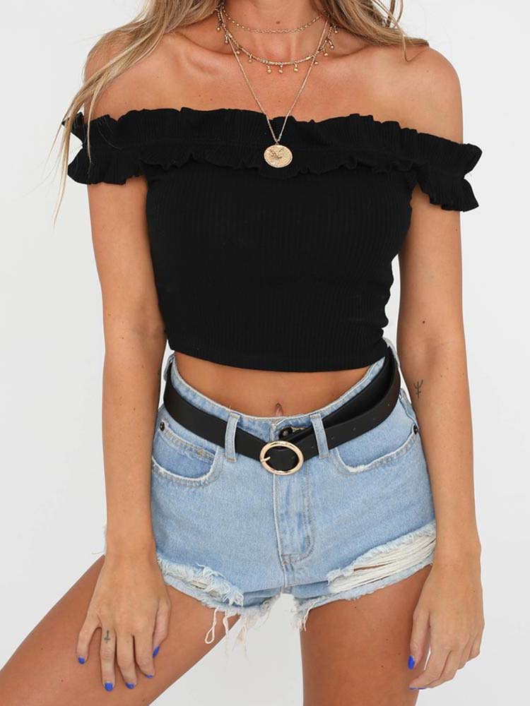 9c72af5cefaac0 Romantic Off Shoulder Ruffled Top – WhatsMode