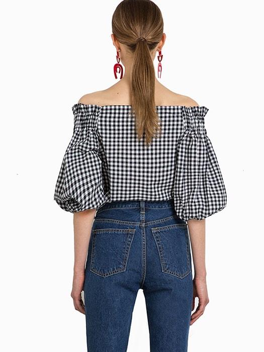 Boat Shoulder Lantern Sleeve Plaid Top With Buckle Detail