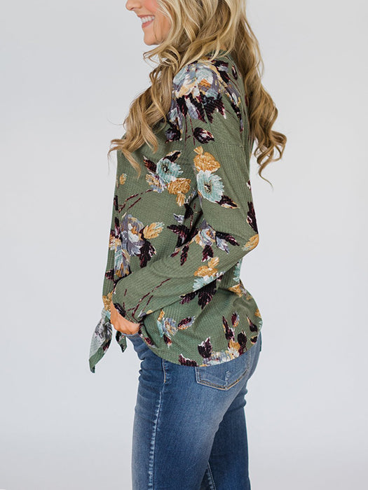 Fashion Floral Print Irregular Long Sleeve T-Shirt
