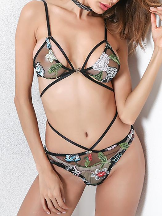 Embroidered  Bra and Thong with  Strap Details