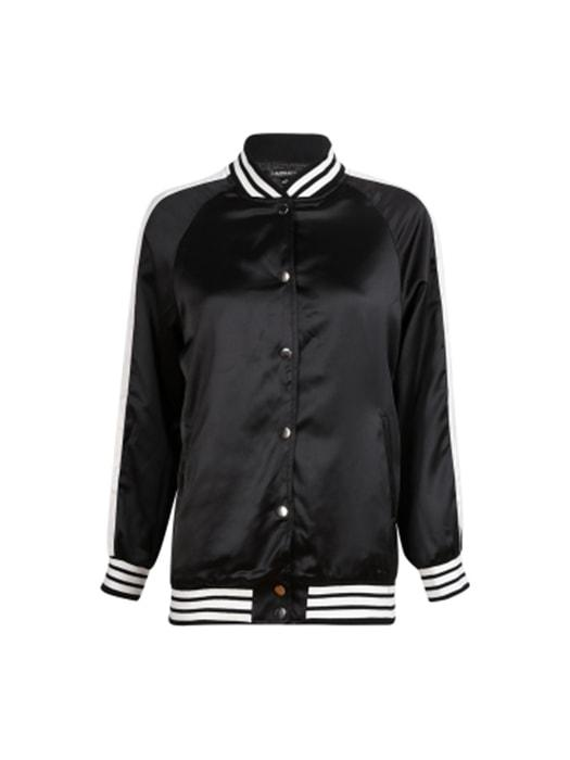 Black Bomber Jacket with Lacing Back