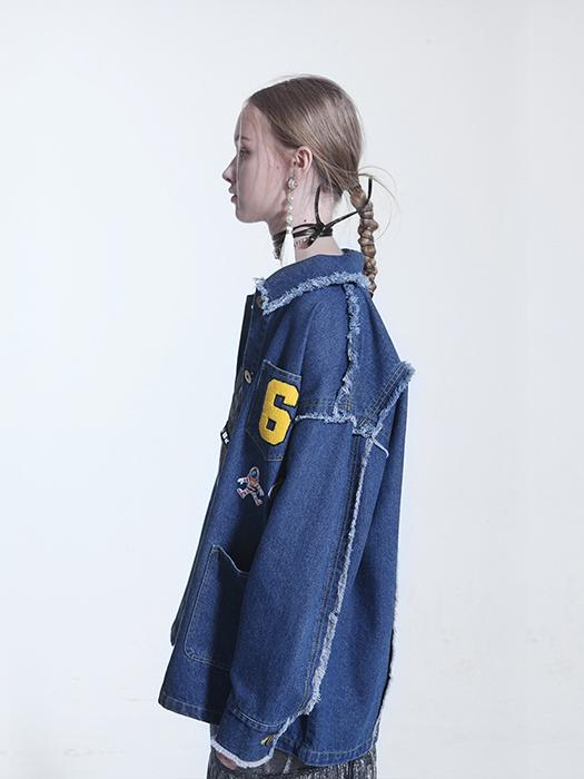 Fringed Patch Detail Denim Motif Jacket