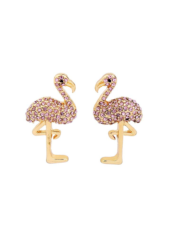 Vacay Flamingo Rhinestone Earrings