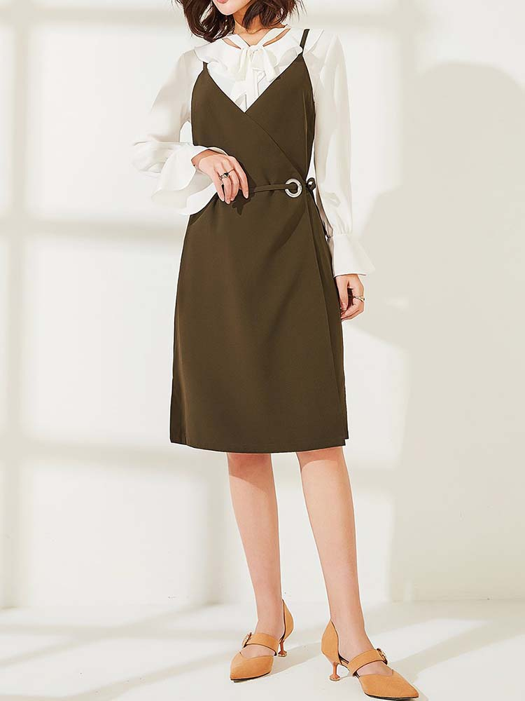 Elegant Wrapped Skirt Suit