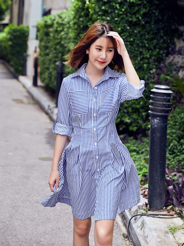 Simple Striped Shirt Dress