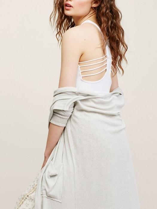 Backless Hollow Out Halter Crop Top