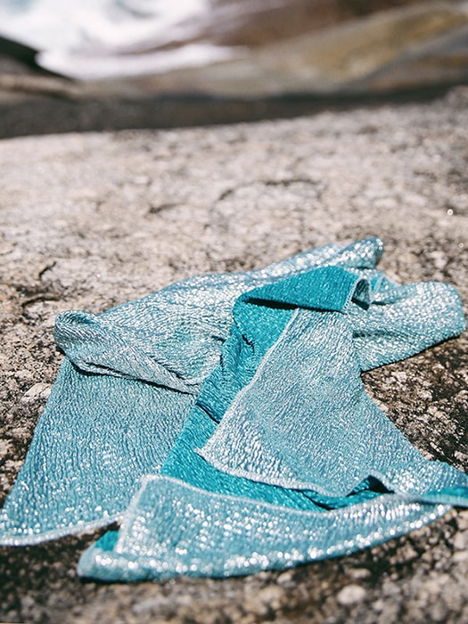 Sequined Blue Gauze Coverup