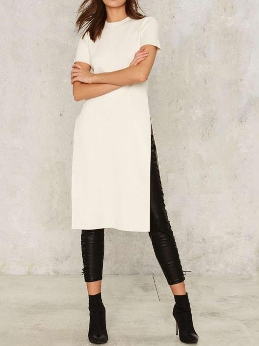 Side Split Solid Contracted Crew Neck Dress