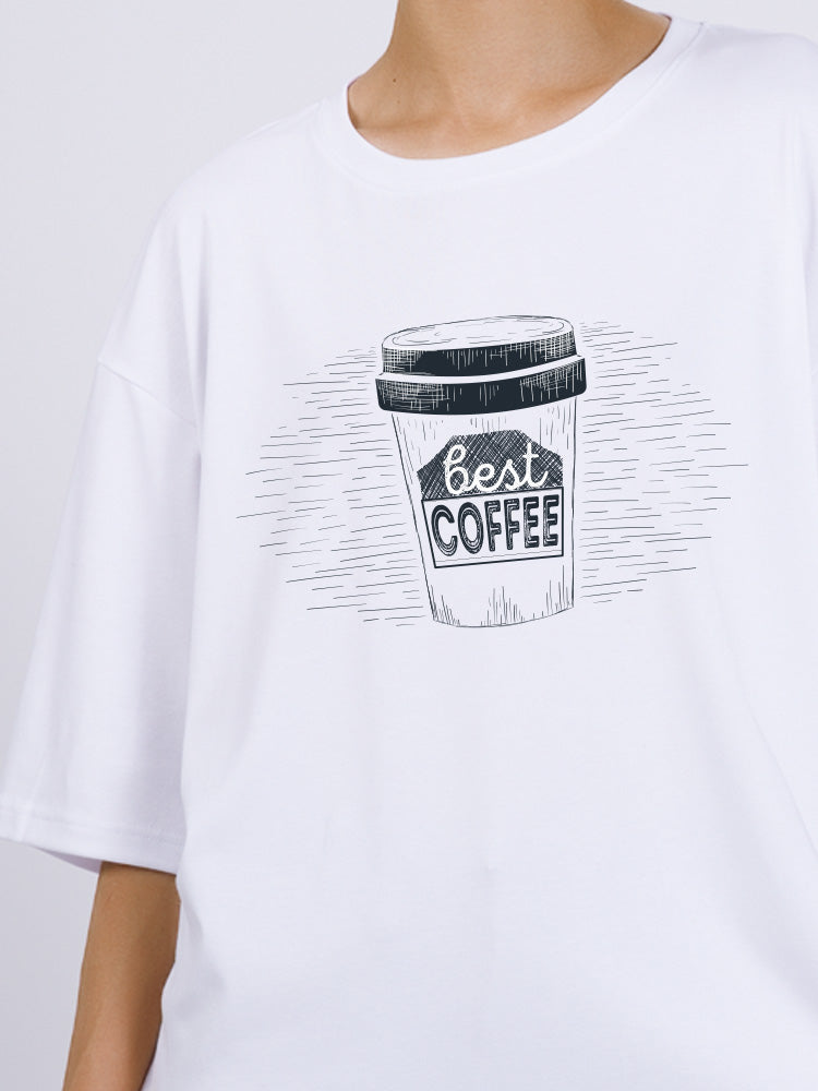 Oversized Coffee Printed T-shirt