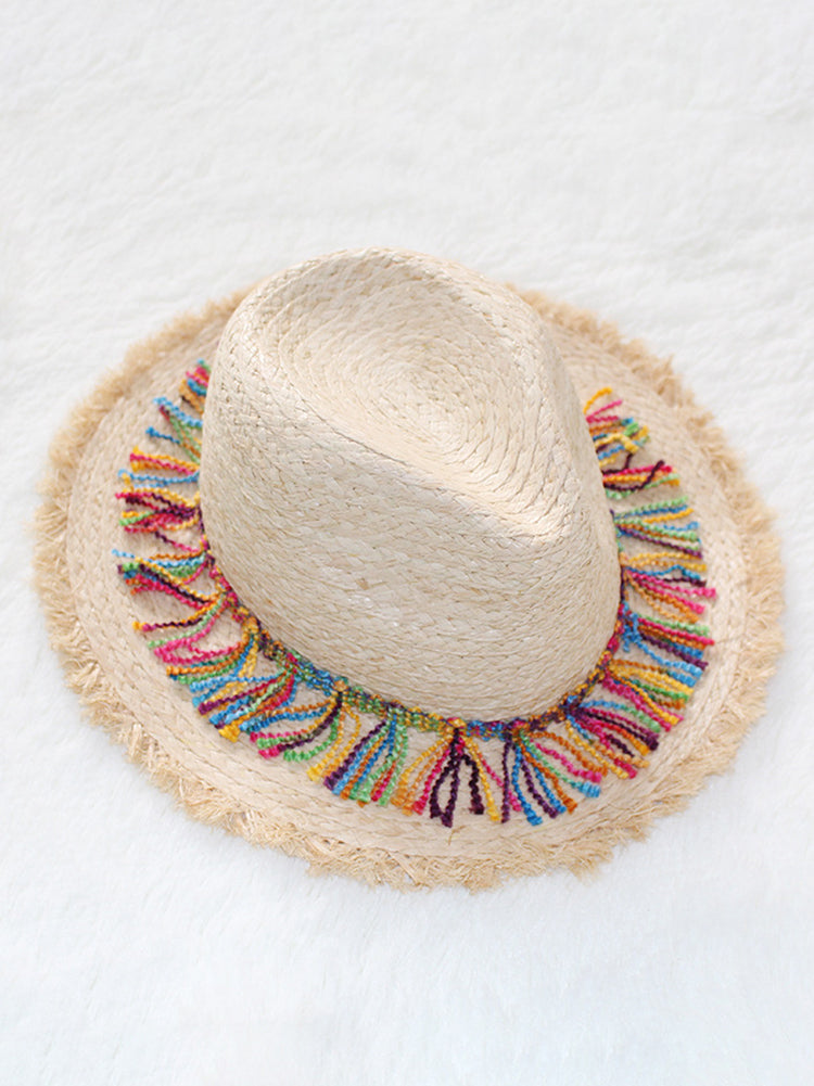 Colorful Fringe Vacay Straw Hat