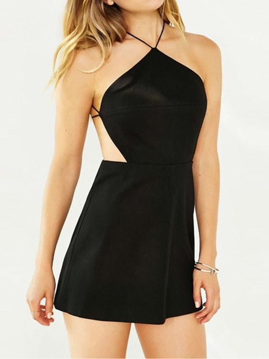 Black/Red Halter Sexy Spaghetti Strap Dress