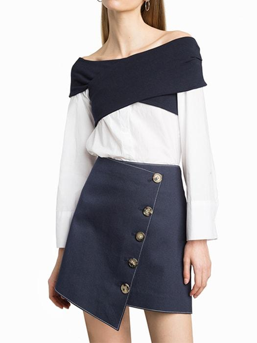 Boat Neck Color Blocked Top