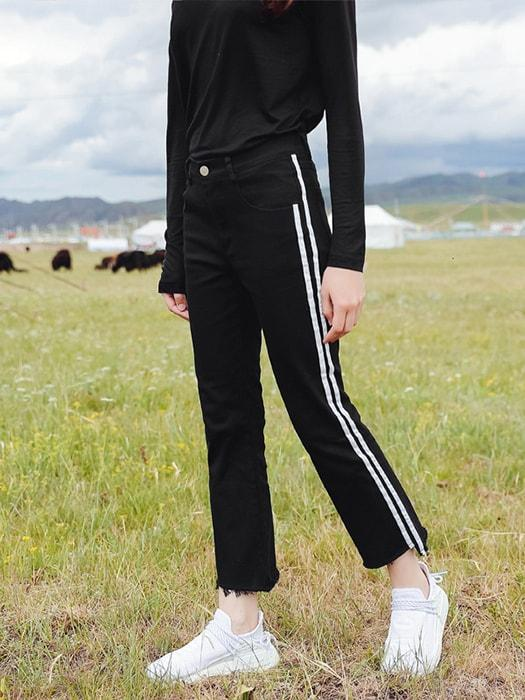 Slim-fit Stripe Trumpet Cropped Pants