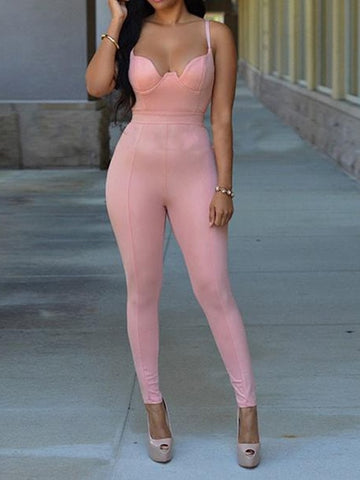 V-neck Seethrough Lace Jumpsuit