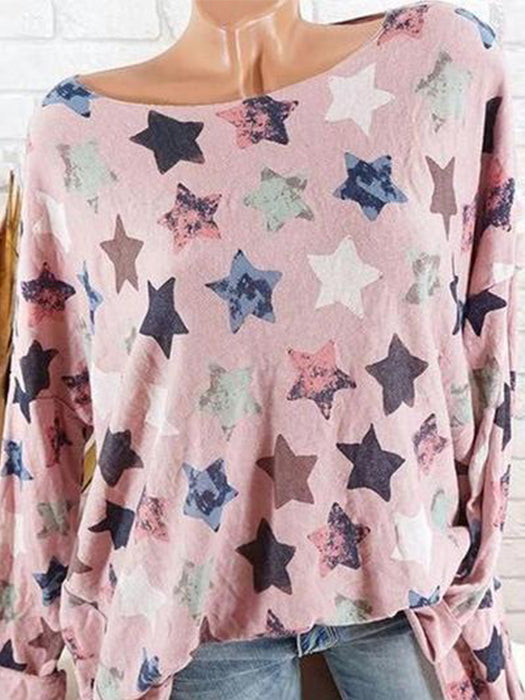 Women Round Neck Printed Star Long Sleeve T-shirts