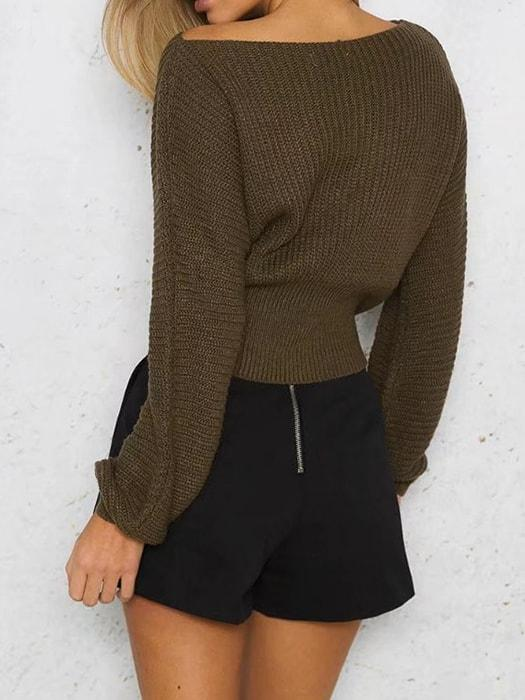 Cropped Sweater Top With String Belt