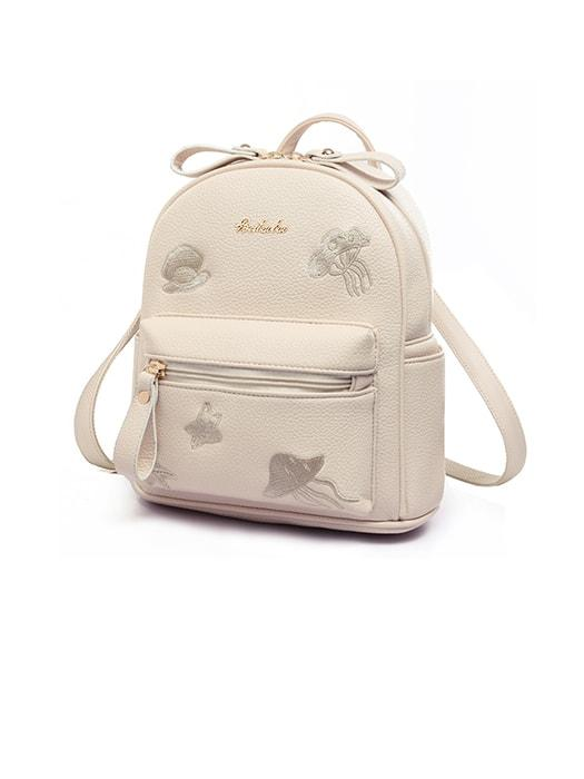 Embroidered Mini Travel Backpack With Front Pocket