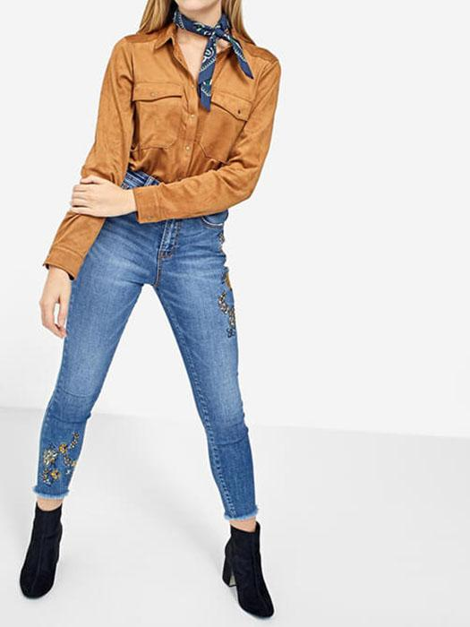 Faux Suede Camel Button Through Top