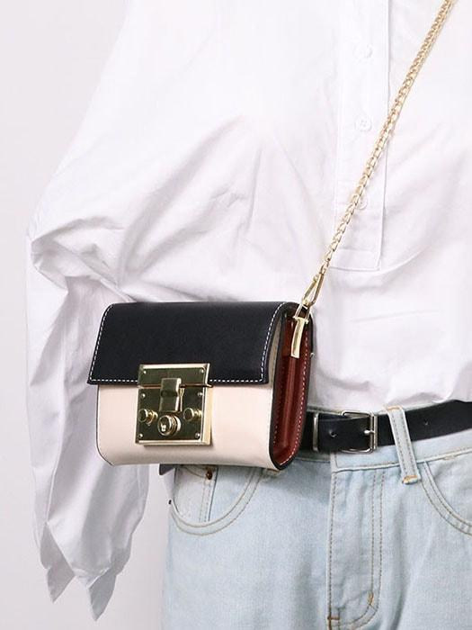 Contrast Color Buckle Detail Cross Body Chain Bag
