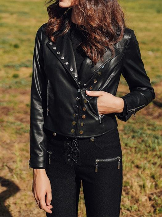 Black Button Studded Short PU Leather Jacket