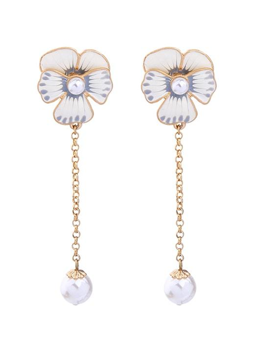 Floral Pearl Orb Drop Earrings