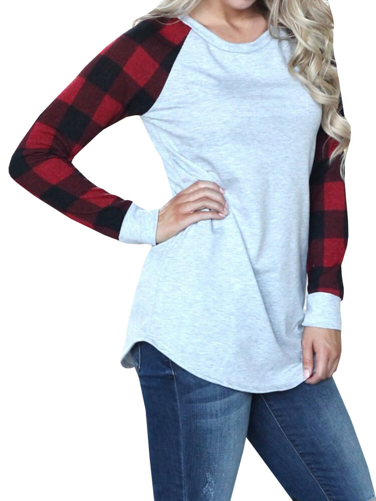 7068d89d9b8 Casual Sweatshirt With Checked Sleeves – WhatsMode