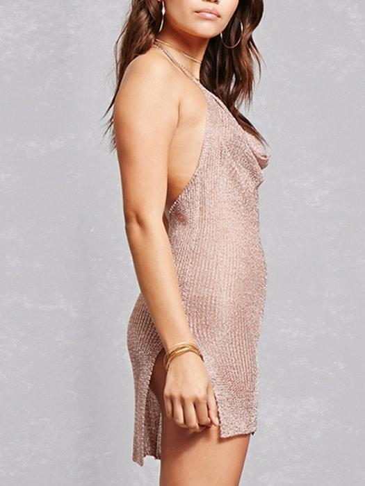 Metallic Deep V Neck Backless Slip Dress
