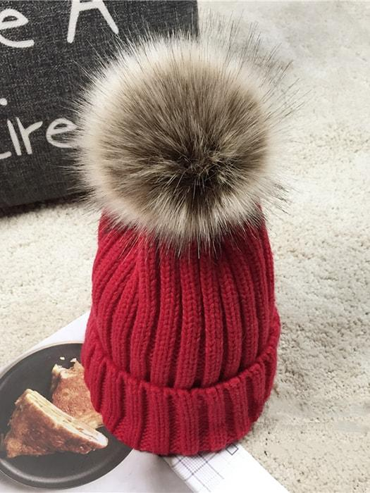 Faux Fur Knitted Pom Pom Beanie Hat