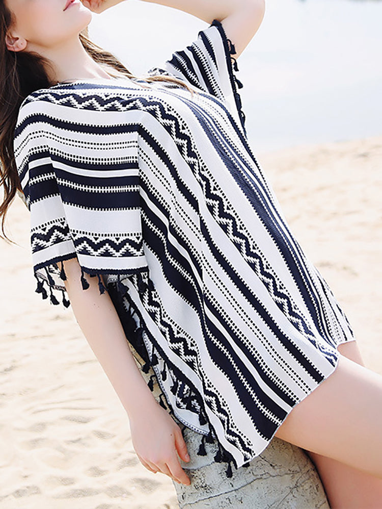 Oversized Crochet Top With Tassels