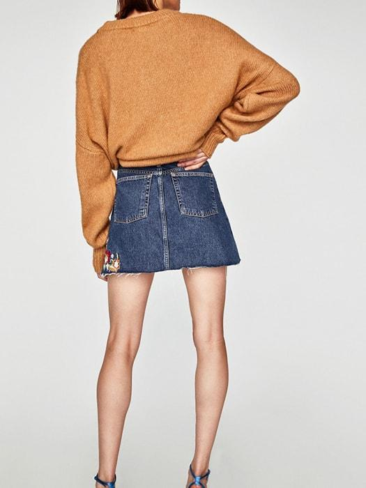 Embroidered High Waist A-line Denim Skirt