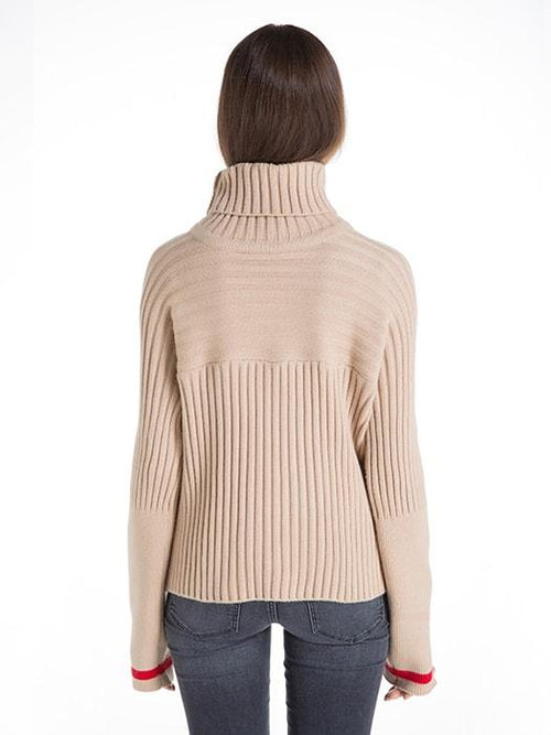 Basic Turtleneck Sweater with Red Line Sleeve Decor