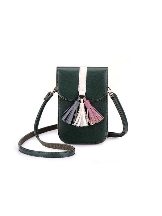 Color Contrasted Tassel Vertical Cross Body Bag