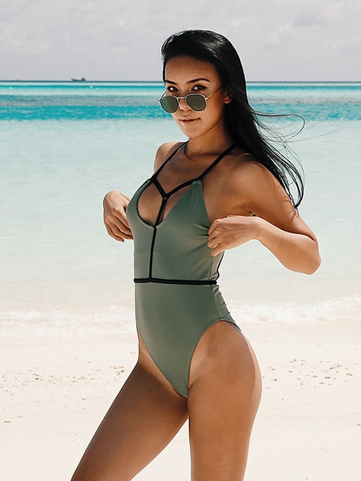 Olive Leotard Swimsuit with Black Tape