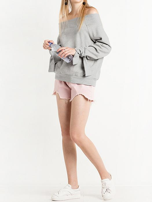 Boat-neck Loose Hoodie With Tied Cuffs