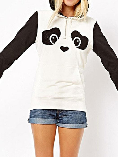 White Panda Print Black Color Block Pom Hoodie